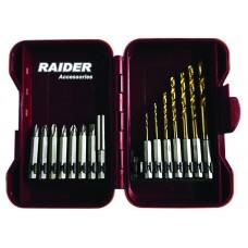 "Biti 1/4"" x 50 mm si burghie cu baza hexagonala Raider Power Tools set 15 piese"