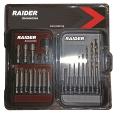 "Biti 1/4"" x 50 mm si burghie cu baza hexagonala Raider Power Tools set 20 piese"