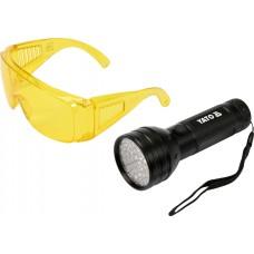 Kit lanterna led UV si ochelari de protectie YATO