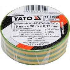 Banda electroizolanta PVC 19 mm x 20 m x 0.13 mm galben-verde YATO